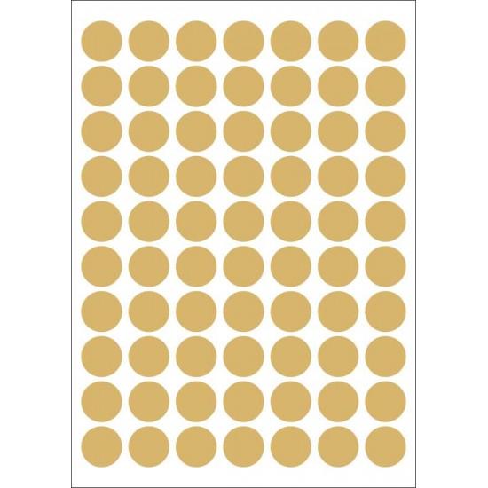 Foglio 70 etichette adesive tonde ORO mm 25