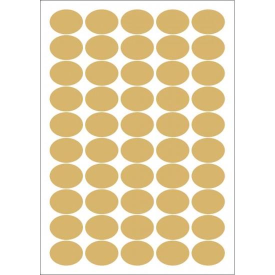 Foglio 50 etichette adesive ovali ORO mm 36x27